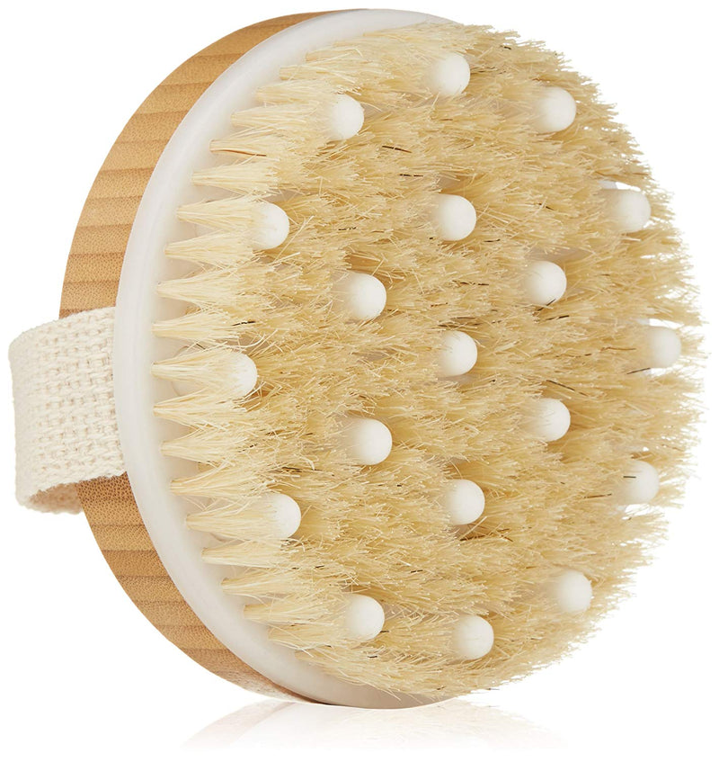 Dry Brushing Body Brush - Best for Exfoliating Dry Skin, Lymphatic Drainage and Cellulite Treatment - Organic Spa Exfoliation and Massage Scrub Brush with Natural Boar Bristles