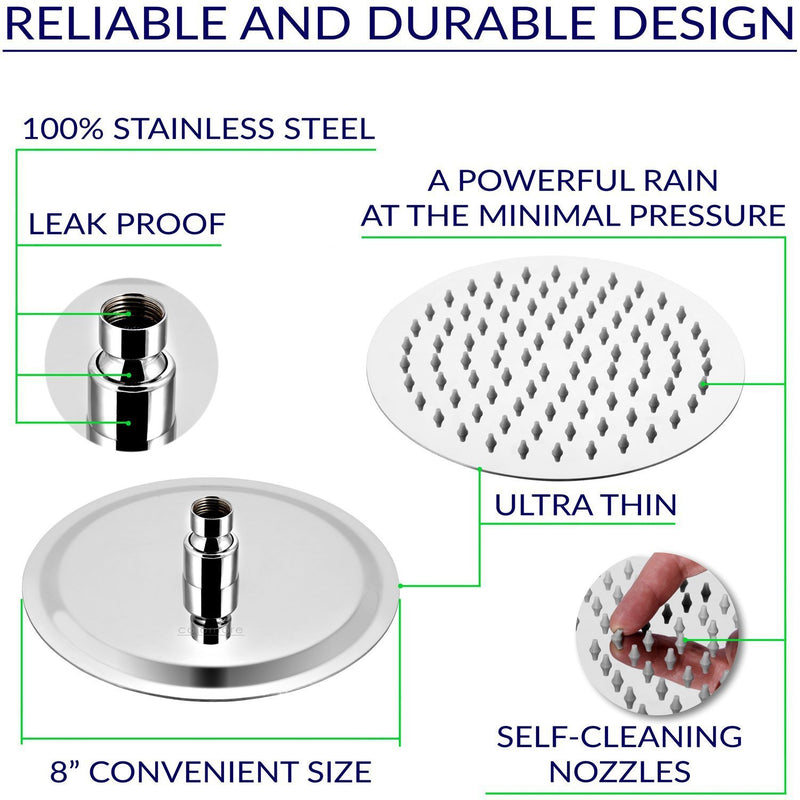 Round Rain Shower Head, 304 Stainless Steel, Ultra Thin Powerful High Pressure Top Spray Bathroom Rainfall Showerhead(Brushed Nickel)