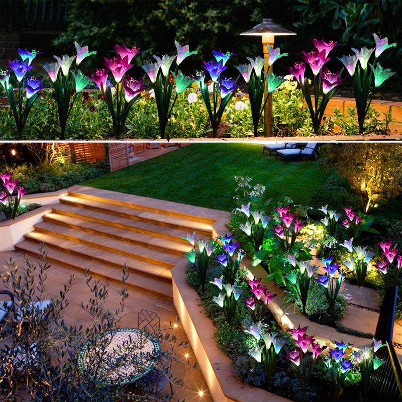 Outdoor Solar Garden Stake Lights - 2 Pack Solar Powered Lights with 8 Lily Flower, Multi-color Changing LED Solar Decorative Lights for Garden, Patio, Backyard (Purple and White)