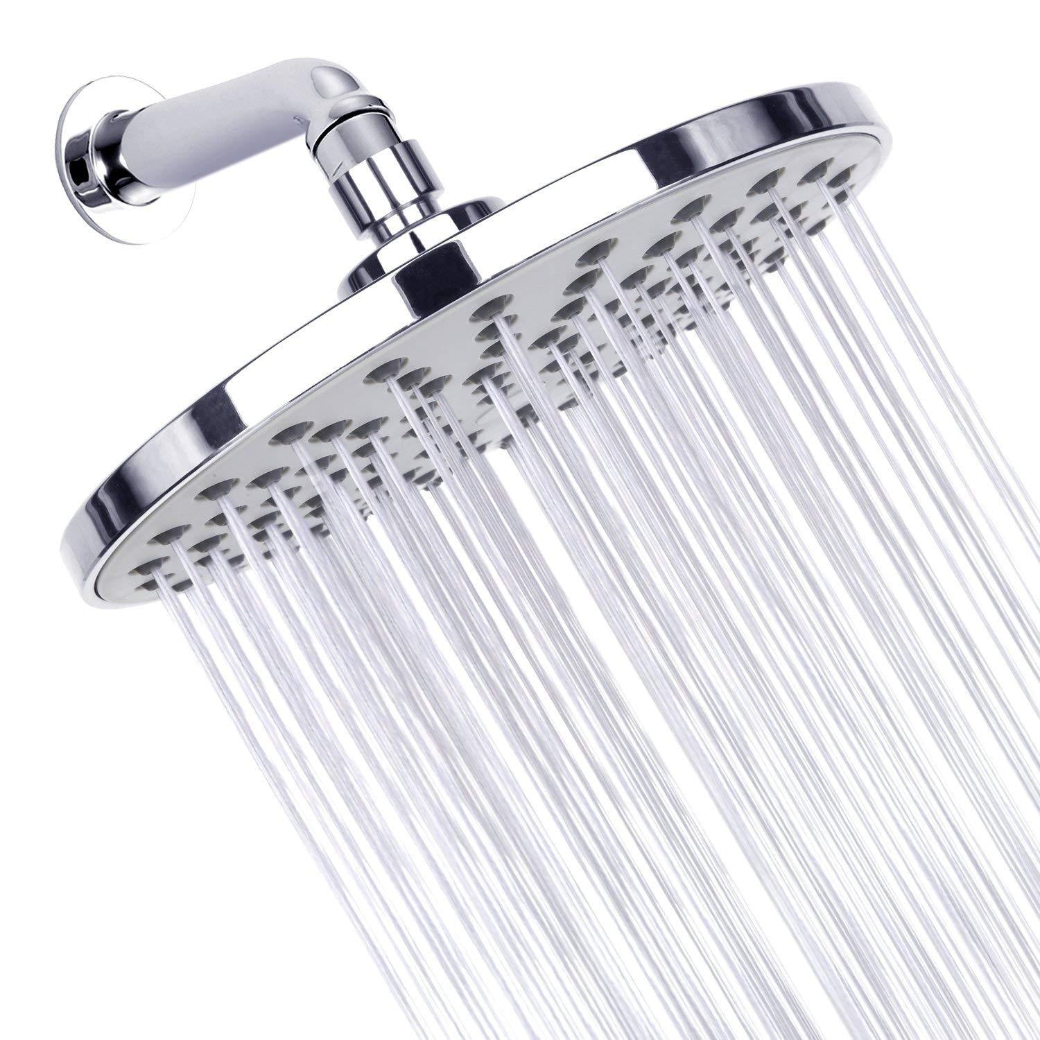"Shower Head, Rainfall High Pressure 8""Chrome Showerhead with Removable Water Restrictor for The Best Relaxation and Spa"