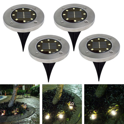 Solar Ground Lights,Solar Disk Lights Outdoor Waterproof Solar Garden Lights for Pathway in-Ground Lawn Yard Deck Patio Walkway - Warm White (4 Pack)