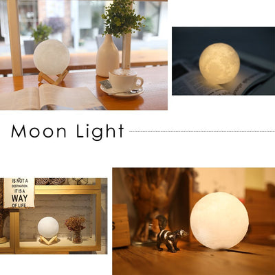 5.9 Inch Full Luna Ball Shaped Electric Battery Powered Table Led Night Light 3D Print The Moon Lamp