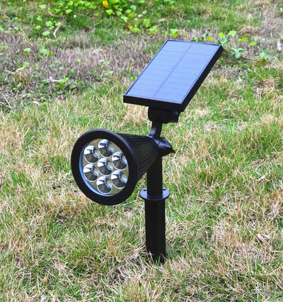 Solar Lights, 2-in-1 Waterproof 7 LED Solar Spotlight Adjustable Wall Light Landscape Light Security Lighting Dark Sensing Auto On/Off for Patio Deck Yard Garden Driveway Pool Area(2 Pack)