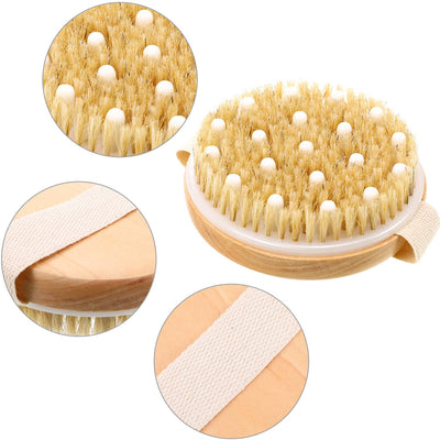 Organic Spa Exfoliation Massage Scrub Brush With Natural Boar Bristles Dry Brush