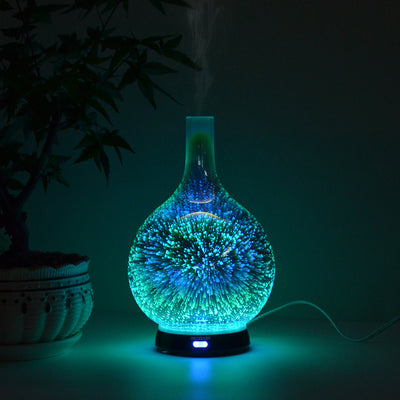 3D Glass 7 Color LED Facial Steamer Cold Water Perfume Light Wood Grain Electric Essential Oil Air Humidifier Timer Water Bottle