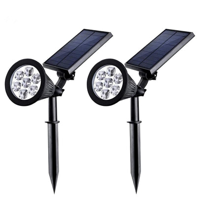 Solar Spotlights Outdoor Upgraded, Waterproof 7 LED Solar Security Landscape Lights, Adjustable Solar Garden Light with Auto On/Off ( 2Pack )
