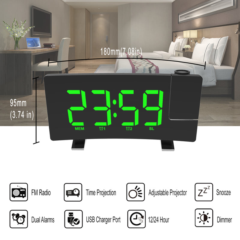 New For Black Friday Digital LED Projection Table Alarm Clock With Radio USB