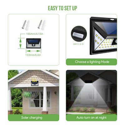 Solar Lights Outdoor Super-Bright 44 LED , 3 Optional Modes Wireless Motion Sensor Light with 270° Wide Angle, IP65 Waterproof, Easy-to-Install Security Lights for Front Door, Yard, Garage, Deck