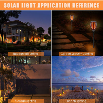 Solar Lights Upgraded, Waterproof Flickering Flames Torches Lights Outdoor Solar Spotlights Landscape Decoration Lighting Dusk to Dawn Auto On/Off Security Torch Light for Patio Driveway  (4 Packs)