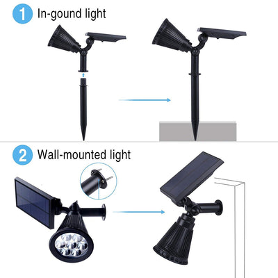 Solar Lights, 2-in-1 Waterproof 7 LED Solar Spotlight Adjustable Wall Light Landscape Light Security Lighting Dark Sensing Auto On/Off  (Warm White
