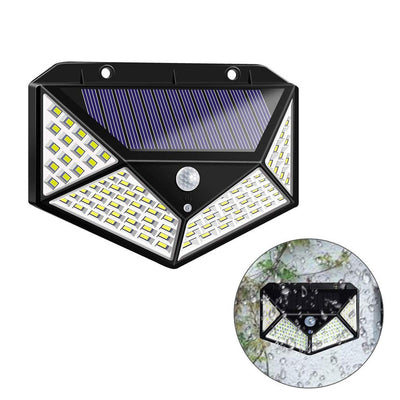 100 LED Solar Wall Lights, Solar Motion Sensor Security Wall Lights Outdoor Waterproof with 3 Modes