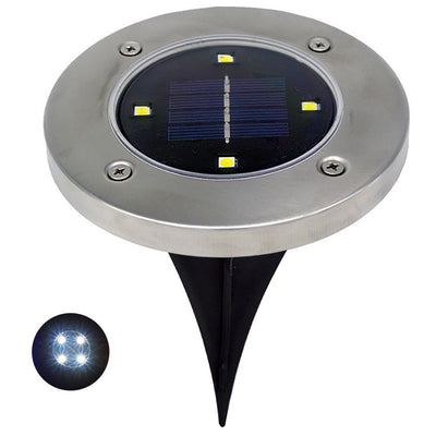 Solar Ground Lights- Solar Disk Llight 8 LED Waterproof Solar Lights Outdoor Pathway for Garden Patio Outdoor in-Ground Lawn Yard Deck Walkway - Warm White (4 Pack)