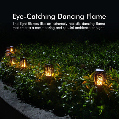 Solar Torch Lights Waterproof Flickering Flame Solar Torches Dancing Flames Landscape Decoration Lighting Dusk to Dawn Outdoor Security Path Light for Garden Patio Driveway (4 Packs)