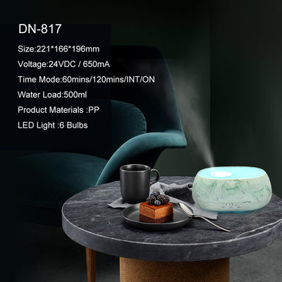 Remote Control 500ml Essential Oil Aromatherapy Diffuser,Cool Mist Ultrasonic Air Humidifier /Home hotel plug-in marble wood fragrance diffuser with remote control
