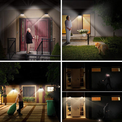 Warm White Motion Sensor Lights Solar Outdoor 34 LED Wide Lighting Area Waterproof Wireless Security Light Easy Install for Front Door Back Yard Driveway Garage  (2 Pack)