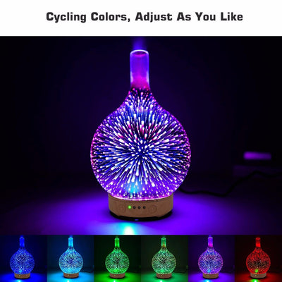 Colorful Humidifier Light 3D Glass Aromatherapy Diffuser Colorful Essential Oil Ultrasonic Humidifier