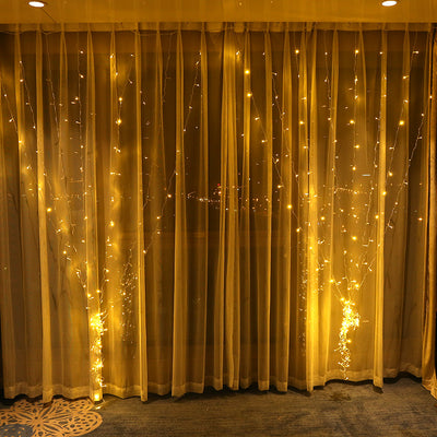 Star 300 LED Window Curtain String Light with remote for Wedding Party Outdoor Indoor Wall Decorations
