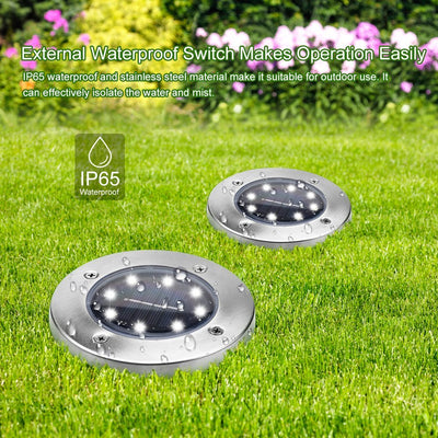 Solar Lights Outdoor, Solar Disk Lights 8 LED Bulbs Waterproof Solar Garden Lights Outdoor for Patio Pathway Ground Lawn Yard Driveway Walkway - White (4 Pack)