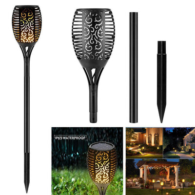 96 LED Waterproof Outdoor Landscape Decoration Dancing Flame Lighting Flickering Security Garden Solar torch light  2 Pack