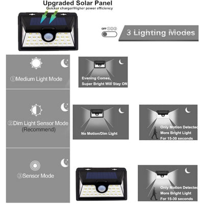 Original Solar Lights Outdoor, 3 Optional Modes Wireless Motion Sensor Light with 270° Wide Angle, IP65 Waterproof, Easy-to-Install Security Lights for Front Door, Yard, Garage, Deck