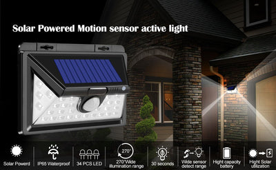 Cold White Motion Sensor Lights Solar Outdoor 34 LED Wide Lighting Area Waterproof Wireless Security Light Easy Install for Front Door Back Yard Driveway Garage  (2 Pack)