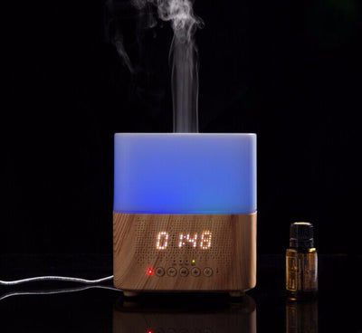 New Clock diffuser Time Aromatherapy Wooden Grain Bluetooth Oil Diffuser  for Open Shop,Baby nursery,Pet Grooming