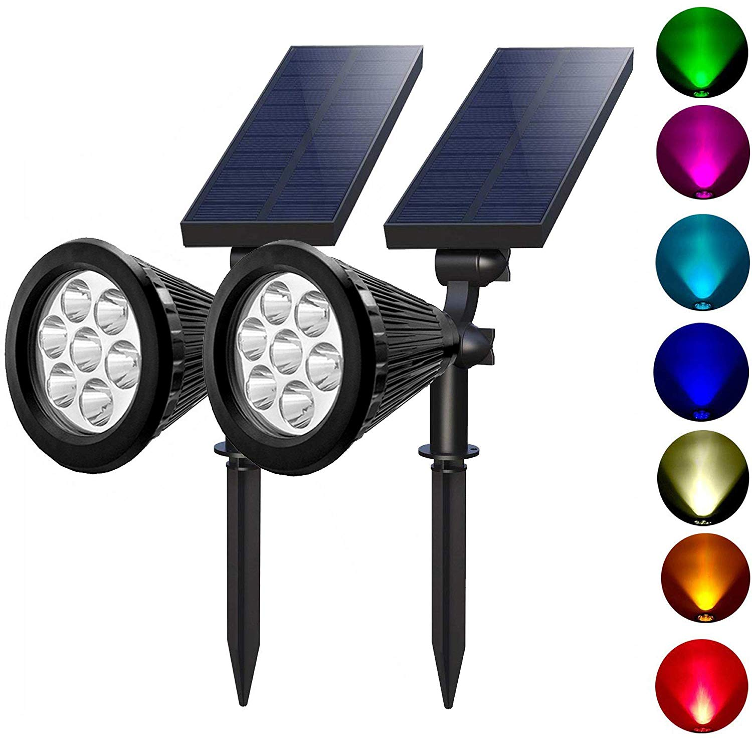 Upgraded Outdoor Landscape Security Night Lights 7 LED Solar Spot Light Sensor for Garden Patio Yard Path