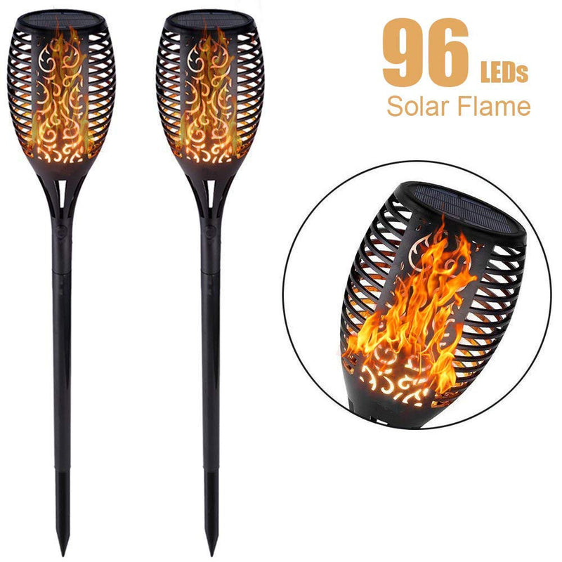 Solar Torch Lights Waterproof Dancing Flickering Flame Solar Lights Landscape Decoration Lighting Dusk to Dawn Auto On/Off Security Solar Flame for Garden Patio Pathway (4 Pack)