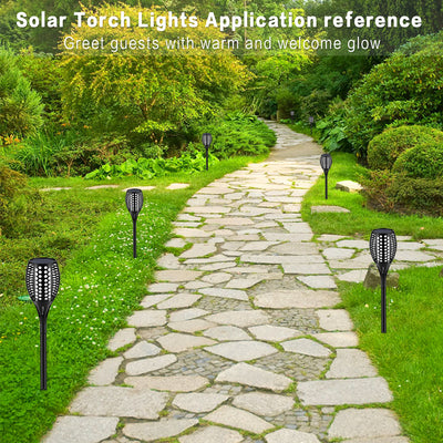 Solar Lights Upgraded, Waterproof Flickering Flames Torches Lights Outdoor Solar Spotlights Landscape Decoration Lighting Dusk to Dawn Auto On/Off Security Torch Light
