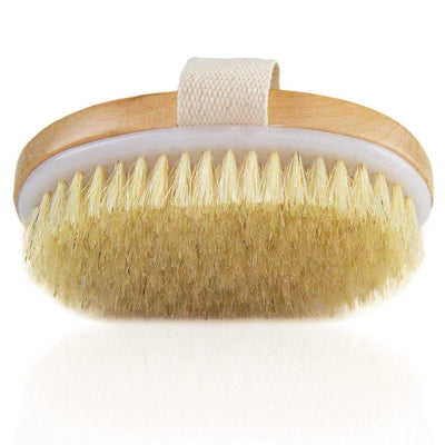 Sale Wood Natural Bristle Dry Skin Body Brush  With Hand Band For Nice Grip