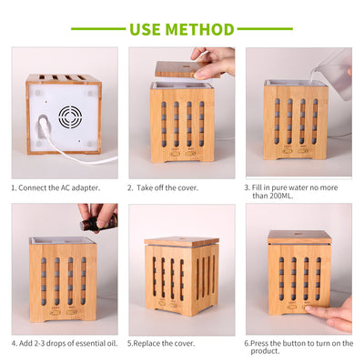 LED 200ml bamboo wood grain ceramic scent fragrance humidifier perfume aromatherapy air ultrasonic essential oil aroma diffuser