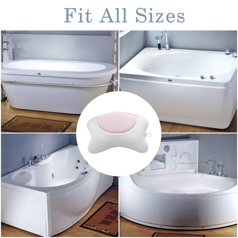 Bathtub Pillow Quick Drying 3D Mesh material with 4 Strong Suction Cups /Anti-Bacterial Luxury 3D Spa Bath Pillow With Bone Shape