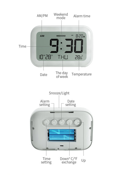 Modern Minimalist Style LCD Display Volume Adjustable Snooze and Weekend Mode White Digital Alarm Clock