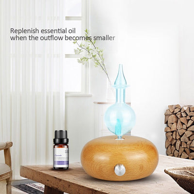 Real Wood Glass Pure Essential Oil Nebulizer Waterless Aromatherapy Diffuser with 7 Changing LED Colors and Wood Grain Base