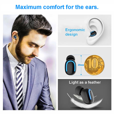 NEW Auto-pairing 5.0 TWS Headset Stereo Wireless Earphone Headphone Earbuds with 1500mA Power Bank