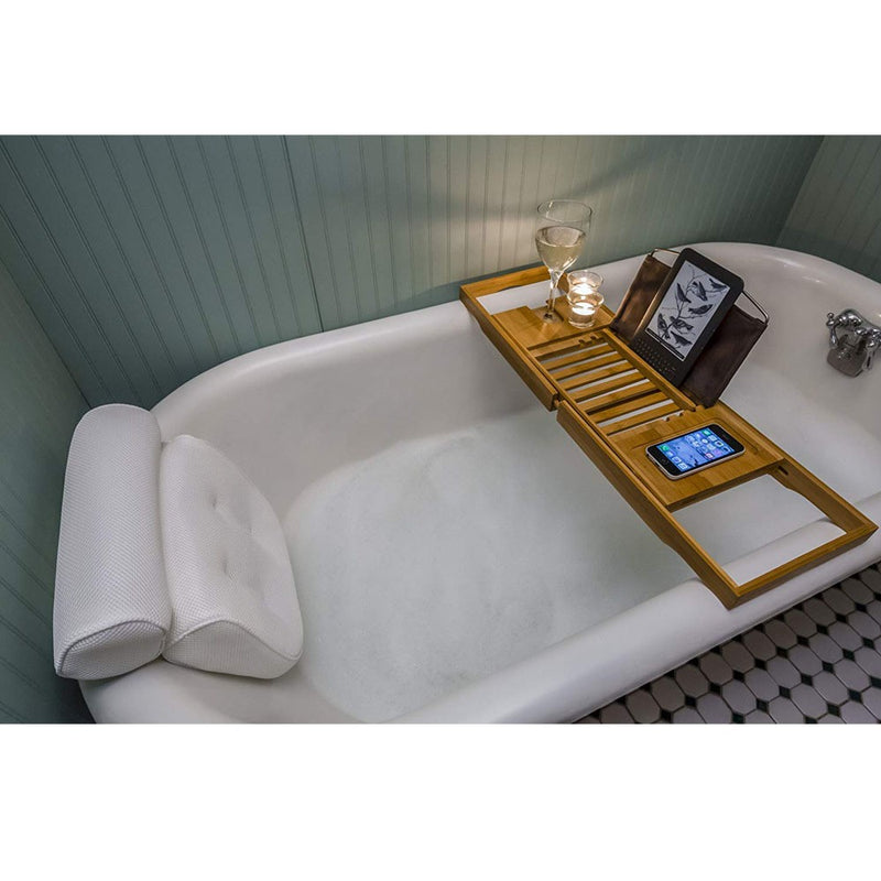Non Slip Home Spa Jacuzzi Bath Pillow With Back And Neck Support. Anti-Mold/Mildew, Waterproof, With Built In Suction Cups, Extra Padding For Ultimate Relaxation Experience