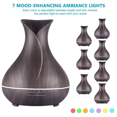 400ml Wooden Grain Aromatherapy Essential Oil Diffuser Ultrasonic Cool Mist Humidifier with Color LED Lights Changing