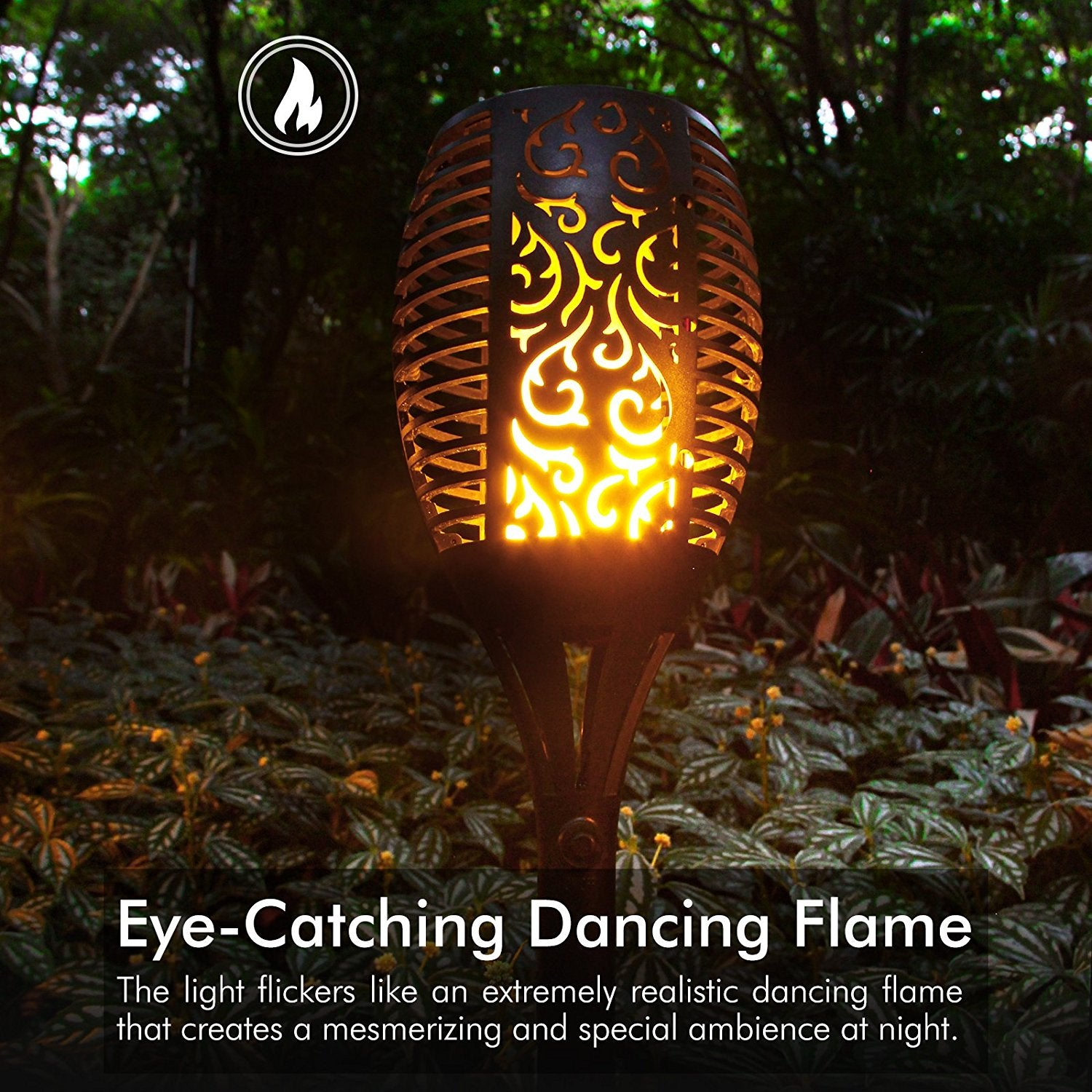 Picture of: Solar Lights Waterproof Flickering Flames Torches Lights Outdoor Land Admiredgo