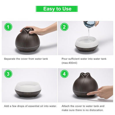 GXZOCK 400ml Essential Oil Diffuser Wood Grain Diffuser with Auto Shut-Off, 7 Color Light Aromatherapy Oil Diffuser Humidifier and 4 Timer Settings Humidifiers for Bedroom Office