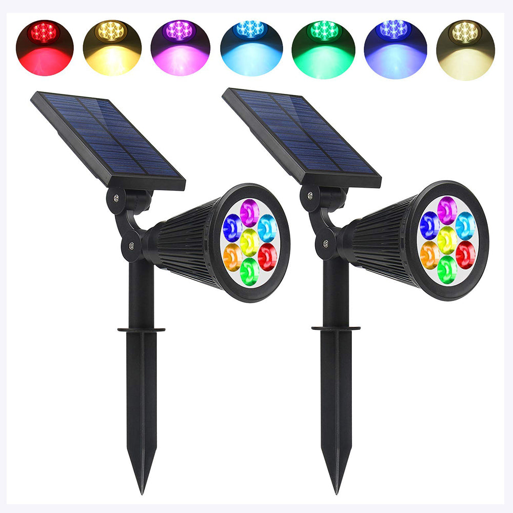 Solar Spotlights Outdoor 7 LED Garden RGB Color Changing Waterproof Up Light Dusk to Dawn for Landscape Wall Trees Yard Pathway Lawn Decor Auto On/Off