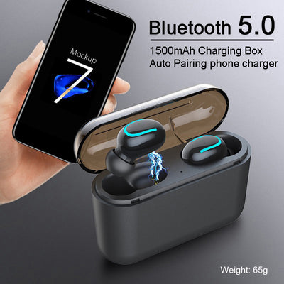 Power bank tws 5.0 blue tooth earbuds with charging case mini in-ear waterproof wireless earphones