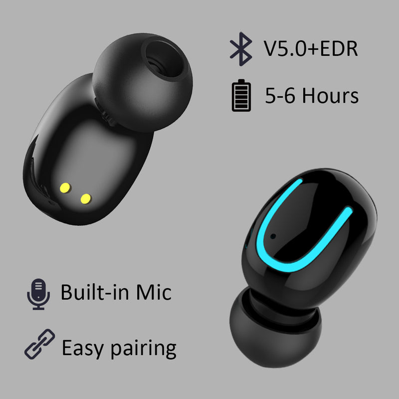 Comfortable Wireless Bluetooth 5.0 EDR Headset Earphone,Wireless Earbuds with Mic,Carry Case Fast Pairing