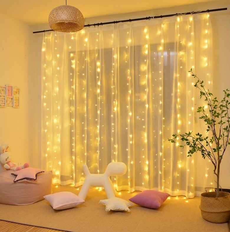 Xmas Outdoor Lights 3*3M  300 LED Window Curtain String Light for Christmas Wedding Party Home Garden Bedroom Outdoor Indoor Wall Decorations (Warm White)