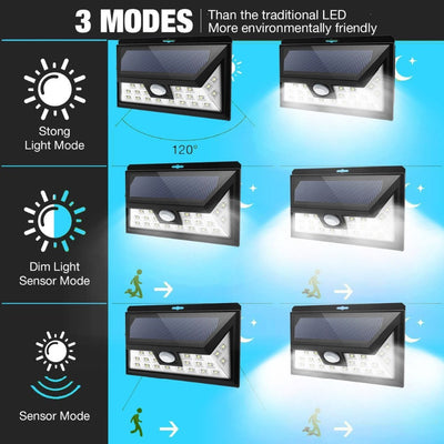 Solar Lights Outdoor, 3 Optional Modes Wireless Motion Sensor Light with 270° Wide Angle, IP65 Waterproof, Easy-to-Install Security Lights for Front Door, Yard, Garage, Deck