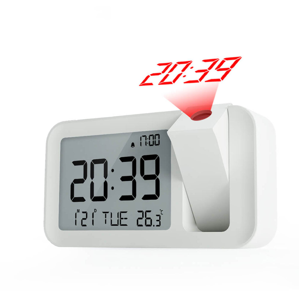 Dimmable LCD Display Snooze Function Indoor Temperature Clock USB Battery Powered Digital Projector Alarm Clock