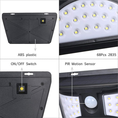 New Design Solar Power 68 LED Wall Light PIR Motion Sensor Waterproof Outdoor Garden Yard Security Lamp