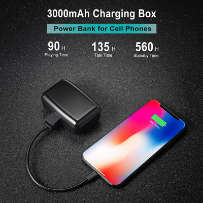 TWS 5.0 Bluetooth Sports Wireless headphone IPX8 Waterproof, 3000mAh charging box, BT5.0 True Stereo Touch Wireless Earphones Earbuds Headset with two Microphones