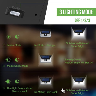 44 LED Solar Powered Lights Outdoor Motion Sensor Wireless Security 270°Wide Angle 550LM Light for Garden Fence Driveway Front Door