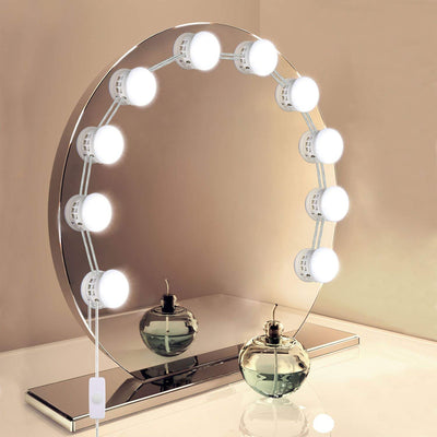 Upgraded Hollywood LED Makeup Mirror Lights Kit with 10 Dimmable Bulbs Lighting Fixture Strip for Table Mirror in Dressing Room