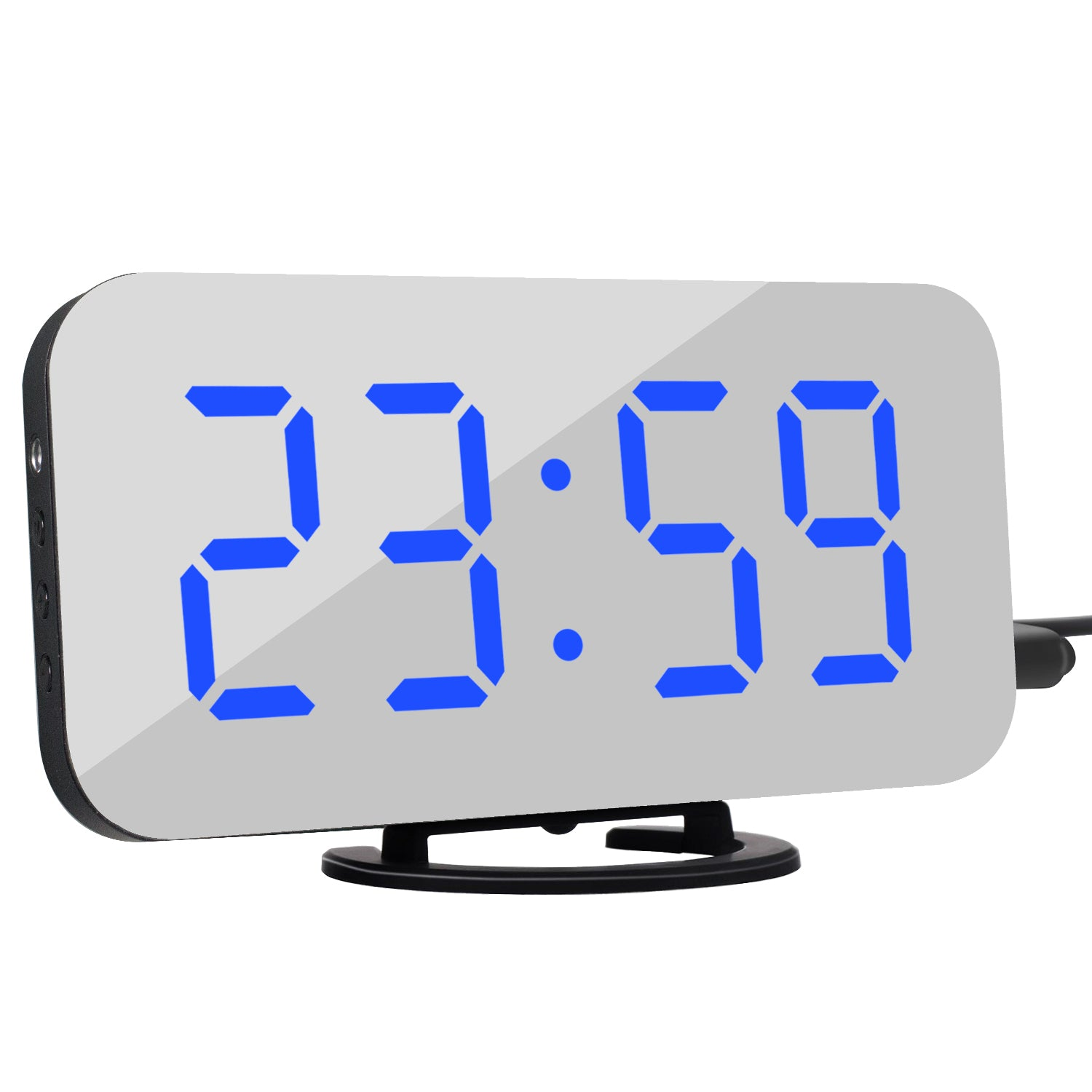 Digital Mirror LED Screen Alarm Clock with Dual USB Charging Port Brightness Sensor for Bedroom Kitchen Hotel Table Desk